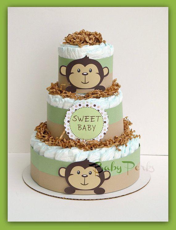 Mod Pod Pop Monkey Diaper Cake  Monkey Diaper Cake  by MsPerks, $49.99