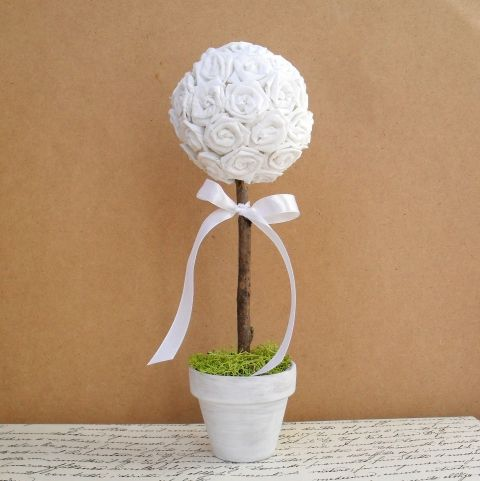 Fehér rózsafa - rendelhető - esküvő, asztali dísz, dekoráció, Dekoráció, Esküvő, Otthon, lakberendezés #meska #wedding