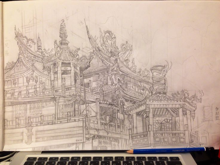 Sketch of a temple near my house