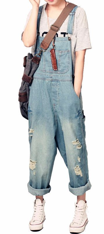 Roomy Denim Overalls - IRoomy Denim Overalls Fabric Type: DenimMaterial: CottonLength: Ankle-Length Pants - On Sale for $48.00 (was $56.00)