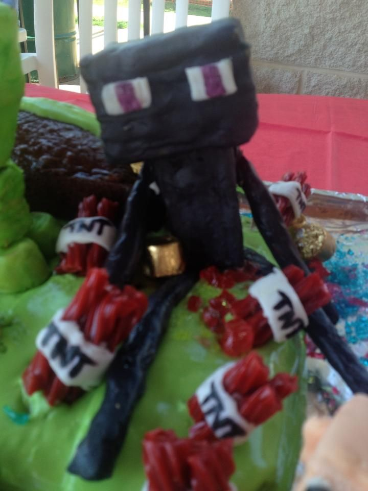 Minecraft Cake requested by my little boy, Here Enderman surrounded by TNT, and gold. Made out of Marshmallow fondant, and some goodies =0)