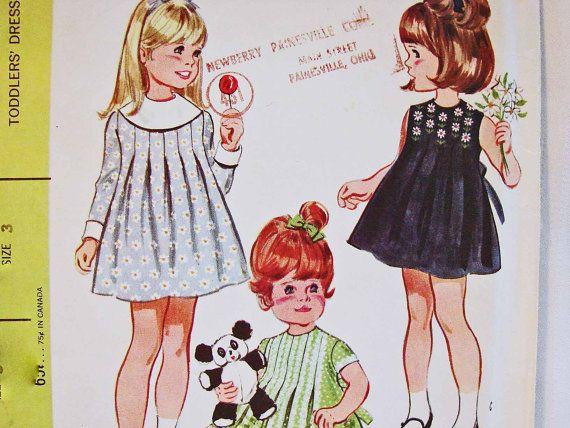 1960s little girls dress pattern for toddler girl size 3