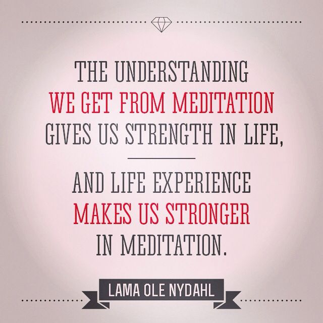 """The understanding we get from meditation gives us strength in life, and life experience makes us stronger in meditation."" Lama Ole Nydahl"