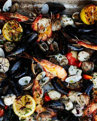 wood-fired shellfishJamie Olive Seafood Recipe, Seafood Grilled, Baby Dresses, Fire Seafood, Wood Fire, Tuna Casserole, Wood Fir Shellfish, Woodfire Shellfish, Mixed Seafood