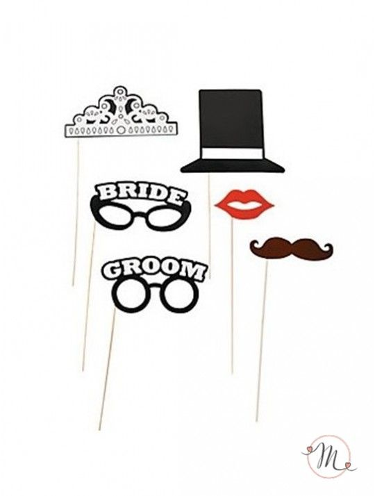 Photo booth - Sposi love 6 pezzi.  Kit 6 pezzi sposi love comprende: 2 occhiali, 1 labbra, 1 baffi, 1 cappello, 1 corona. In #promozione #matrimonio #weddingday #ricevimento #photo #booth #photobooth #fun #party
