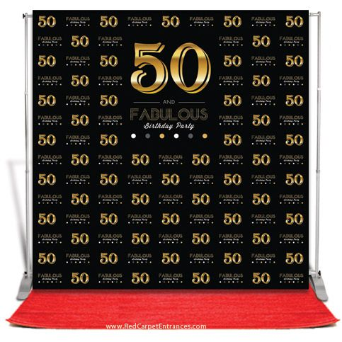 50 and Fabulous red carpet birthday theme. 50th Hollywood red carpet birthday. Photo backdrop, banner stand, red carpet, and carpet installation tape included. All inclusive red carpet birthday photo booth.