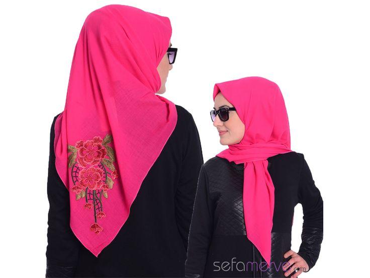 Özel Tasarım Nakışlı Şal 24 Fuşya - #sefamerve #tesetturgiyim #tesettur #hijab #tesettür