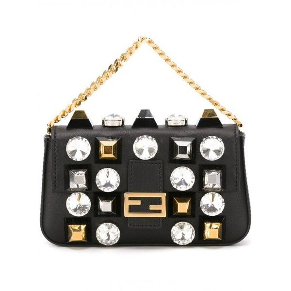 Fendi Clutch Micro 'Baguette' Farfetch ❤ liked on Polyvore featuring bags, handbags, clutches, fendi, white clutches, white purse, fendi purses and fendi clutches