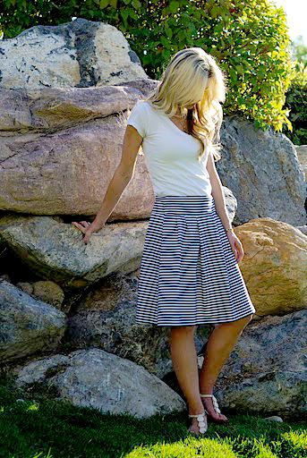 I promise this will be my last time using blue and white striped fabric for a while. I just had enough left over from my Nautical Dress to whip this baby out.      I decided to make the waistband on this skirt stretchy. It is just nice to be able to pull it on with a shirt [...]