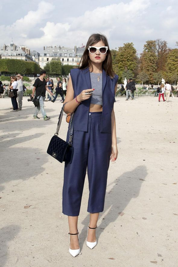 Blue outfit, Paris street fashion