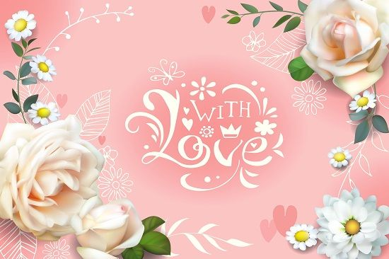 Wedding card with white roses and daisies by Maria Rytova #wedding #love #romantic #greeting #card #rose #flower #lettering #3d