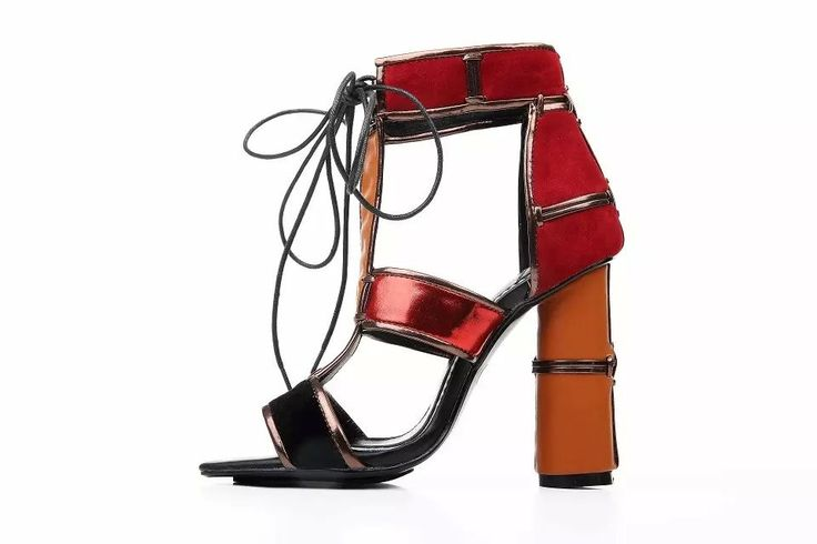 Finish your looks with flair in these designer inspired sandals. In an array of multi-coloured patchwork colourways and leather-stitching with a towering heel. Be sure to pair yours with a skirt to…