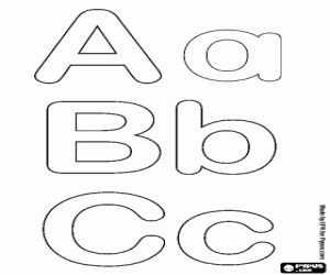 Letters A, B and C of the bubble alphabet  coloring page
