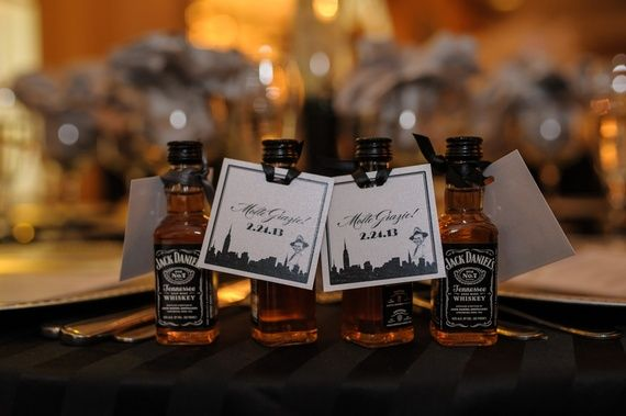 Jack Daniels party favors for a male birthday party, 40th birthday or alcohol theme party