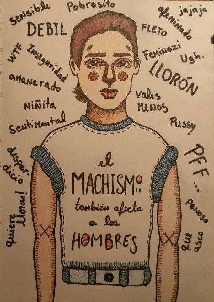 """El Machismo también afecta a los hombres... Imagen obtenida en """"Iniciativas Feministas"""" -Facebok"""