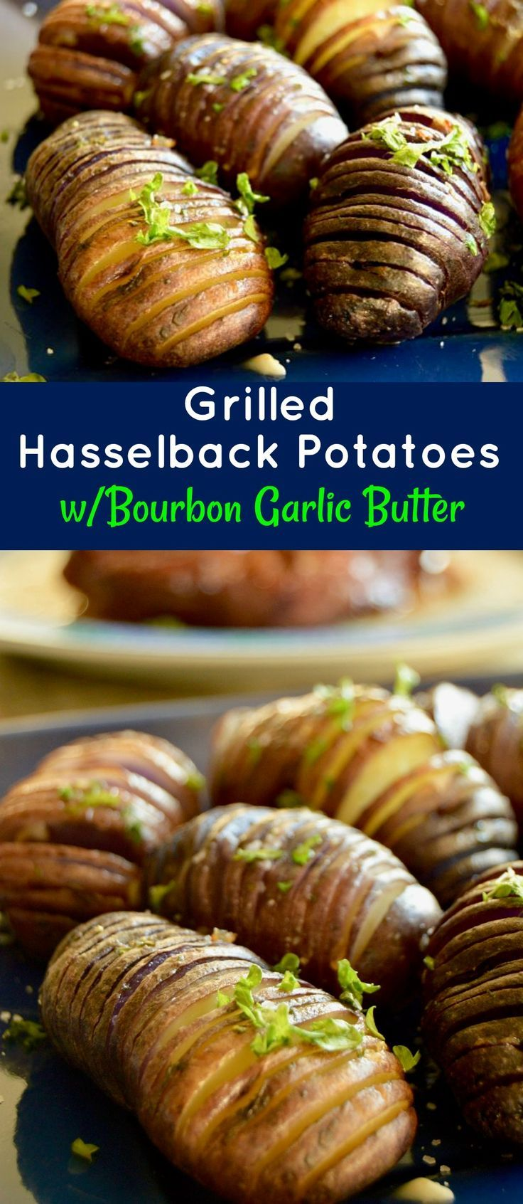 Grilled Hasselback potatoes are ideal for a BBQ side dish. Easy to prep ahead, crunchy on the edges, lightweight centers drenched with bourbon garlic butter for lots of flavor! via @westviamidwest