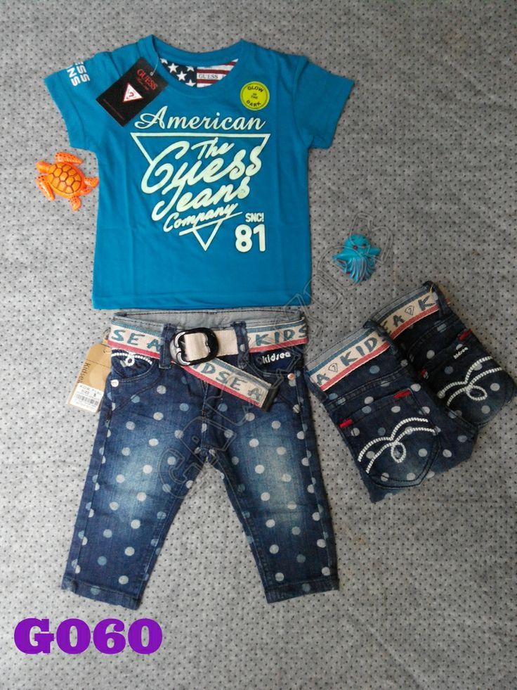 T-shirt Guess baby set (glow in the dark), jeans, belt (G060) Biru || Size 6-18 bulan || IDR 125.000
