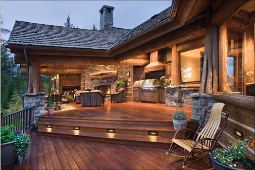 Outdoor living space kitchen fire place multi level for Log home decks