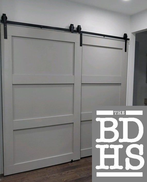 Double Door Single Track Bypass Barn Door On A Single Rail Etsy Bypass Barn Door Diy Barn Door Barn Door Closet