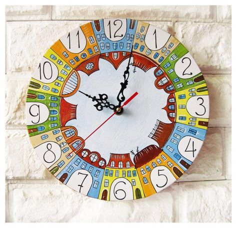 The City of Yecho  Wall Clock Home Decor for Children Baby Kid Boy Girl Nursery Playroom