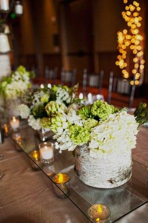 White and green reception arrangements in birch containers | photography by http://www.sloanphotographers.com/