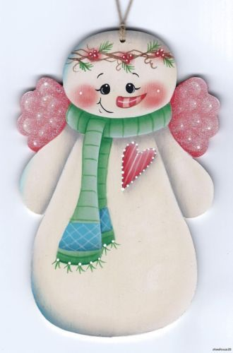 SNOWMAN Angel - Based on a Susan Kelley design... handpainted Pamela House