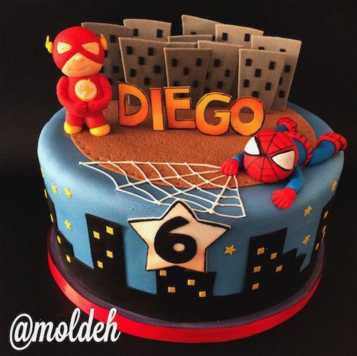 Pastel de Hombre araña y Flash para Diego // Superheros Flash and Spiderman birthday cake for Diego