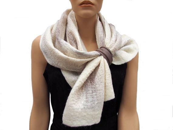 Wit wollen sjaal dames sjaal natuurwit chiffon zijde door RiViDesign
