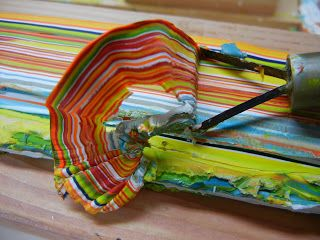 Karl W. Kaiser: How I made this encaustic painting. *****CUT A STRIP OFF OF A PANEL WITH A ZILLION LAYERS & .....