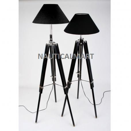 Chrome Finish Black Wooden Tripod Floor Lamp (SET OF 2) By Nauticalmart: Amazon.co.uk: Lighting