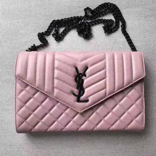 2017 S/S Saint Laurent Monogram Chain Wallet in Pink Mixed Matelassé Leather