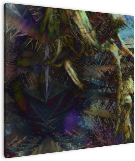 De Bushman is een abstracte interessante foto's gemaakt van foto's van hoofden en een palm kroon.