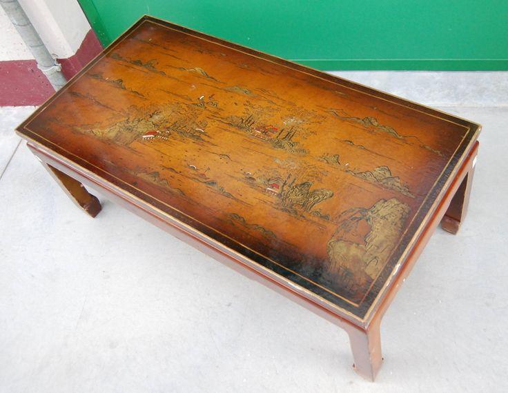 Tavolino cinese da salotto laccato e dipinto lato 100 cm