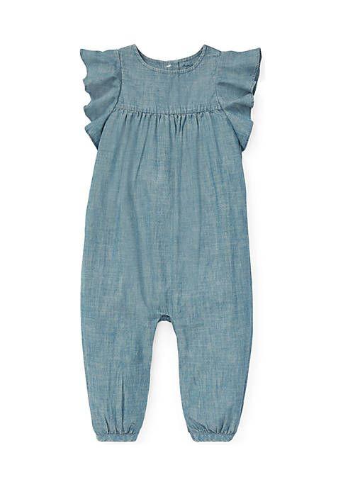 4bc3cef01 Ralph Lauren Childrenswear Baby Girls Ruffled Chambray Romper