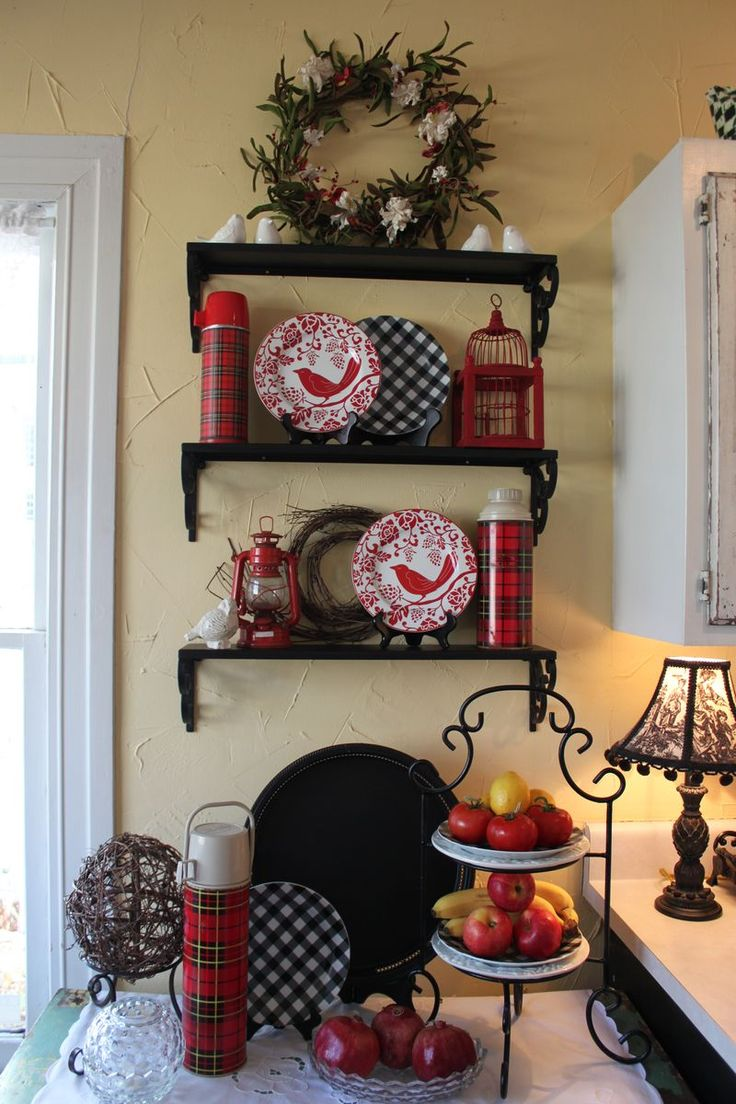 Kitchen Shelves - I love the reds and blacks.
