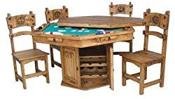Rustic Solid Wood Hidden Game Table Set – Poker Table
