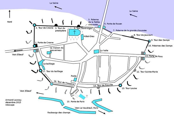 Plan de la ville de Pont-de-l'Arche avec ses remparts tels qu'ils devaient être au 18°s- 15) LE PONT FORTIFIE DU PONT DE L'ARCHE: Ces ouvrages sont en pierre tandis que le pont lui-même, ses piliers, son tablier, et les crénelages des fortifications sont en bois. Le pont s'élève au travers des cours de la Seine et de l'Eure, au point de rencontre des 2 cours d'eau. Sur la rive gauche, le châtelet se dresse à hauteur de l'actuelle ville de Pont de l'Arche, là où se trouvait à priori un port…