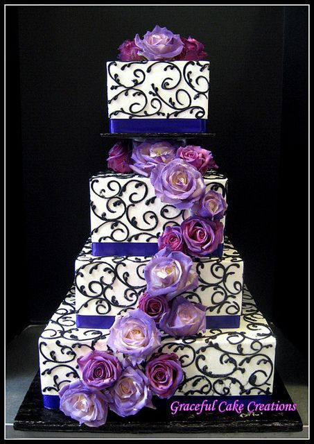 Elegant Purple and Black Square Wedding Cake the black is too busy, i'd rather just have the blue border & purple flowers