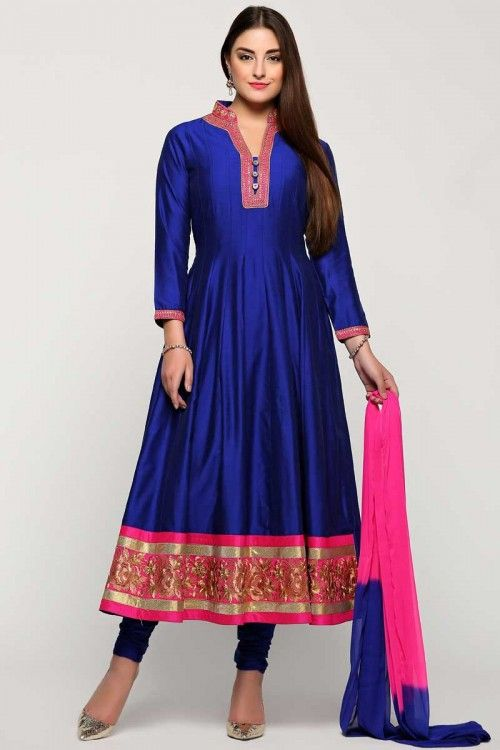 Exclusive designer, Anarkali churidar polysilk asian prom  long suits, Blue with Pink zari embroidered andaaz collection now in shop. Andaaz Fashion brings latest designer   http://www.andaazfashion.co.uk/salwar-kameez/anarkali-suits/blue-with-pink-polysilk-anarkali-churidar-suit-with-dupatta-1737.html