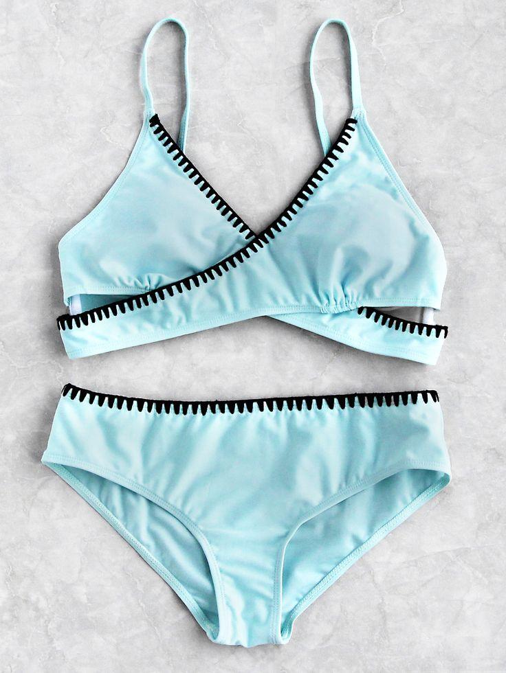Turquoise and black trim bikini