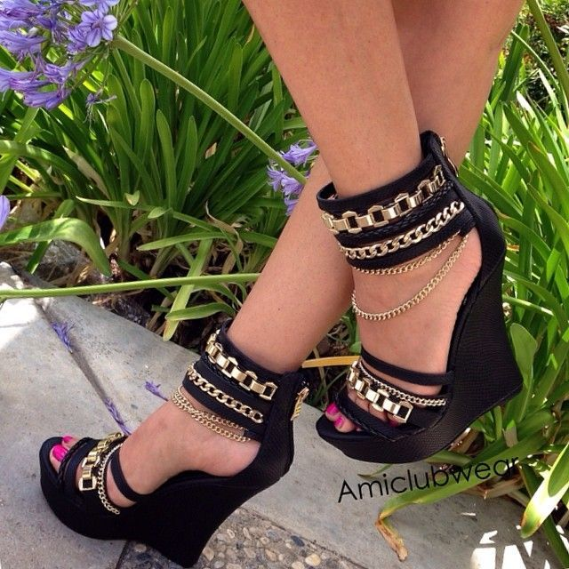 Embellished black club wedges. -- 30 Ultra Trendy Wedge Sandals On The Street - Style Estate -