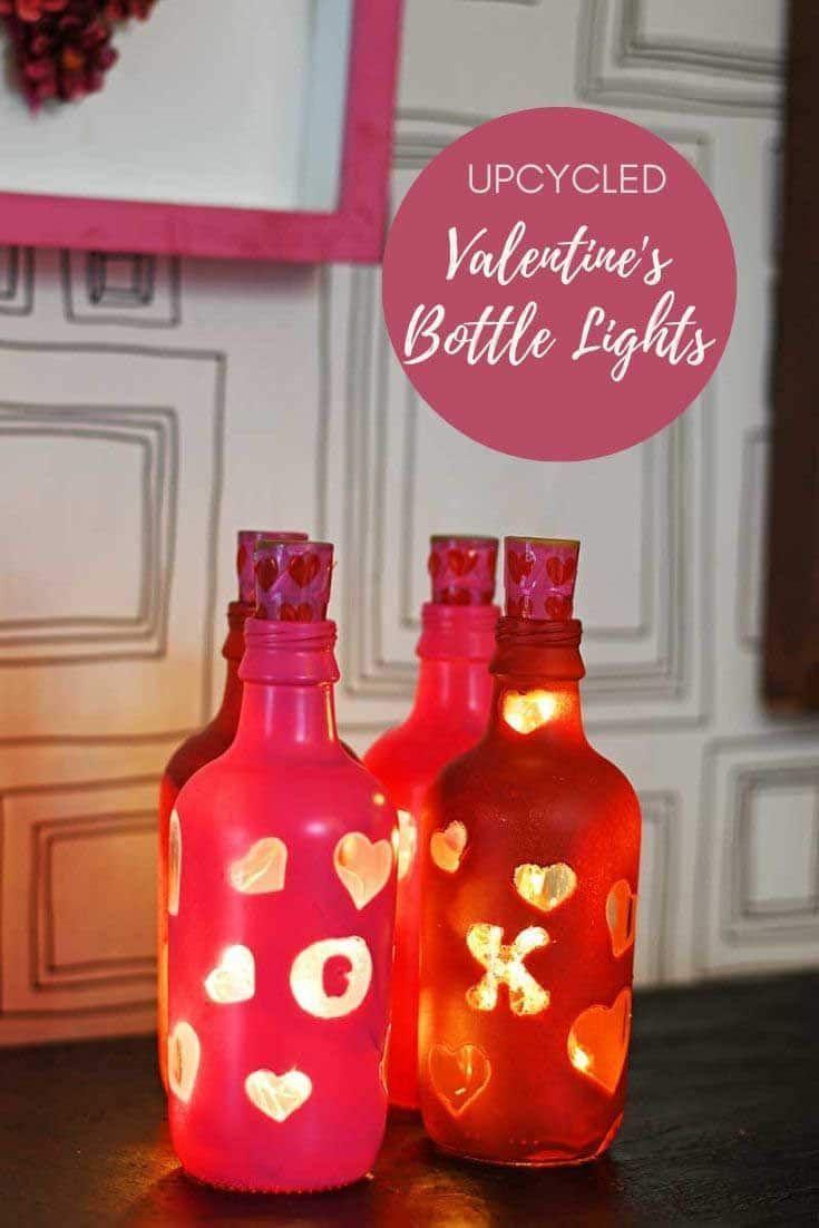 How To Make Valentine S Bottle Lights In 2020 Bottle Lights Lighted Wine Bottles Wine Bottle Decor