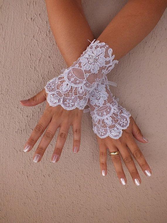Wedding Glove white lace gloves Fingerless Glove by WEDDINGGloves, $25.00