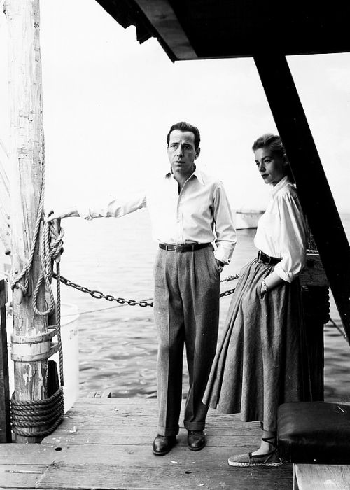 """ Humphrey Bogart and Lauren Bacall on the set of Key Largo (1948) """