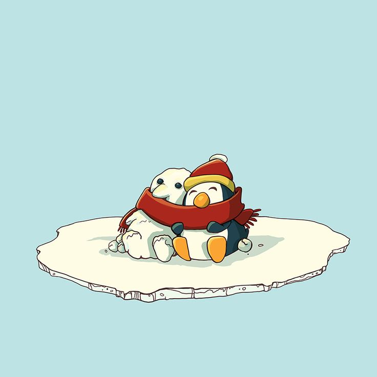 This little penguin got lonely and made a friend out of snow. Afraid his new friend would get cold he snuggled next to him and shared his scarf. Penguin love
