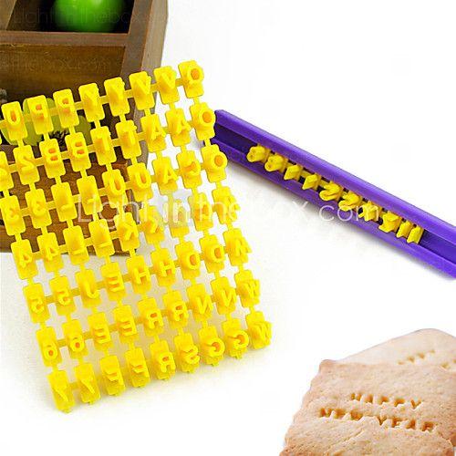 alfabet bogstav nummer kiks cookie cutter presse stempel præger kage skimmel (26 bogstaver + tal) - DKK kr11