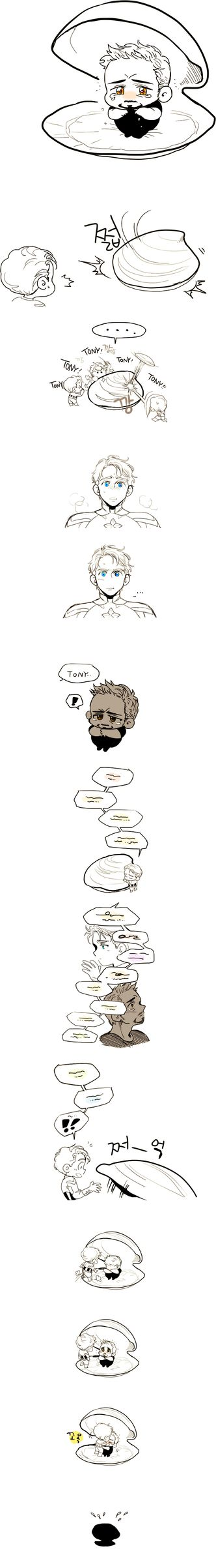 steve/tony comic by tgoamt,  This is just so cute, it warms my heart ^^