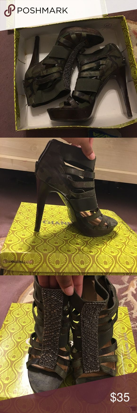 Gianni Bini Heels Cute army green open toe heels by Gianni Bini. Gently used with plastic still on the back of the heel. (Can peeled off if you would like) Gianni Bini Shoes Heels