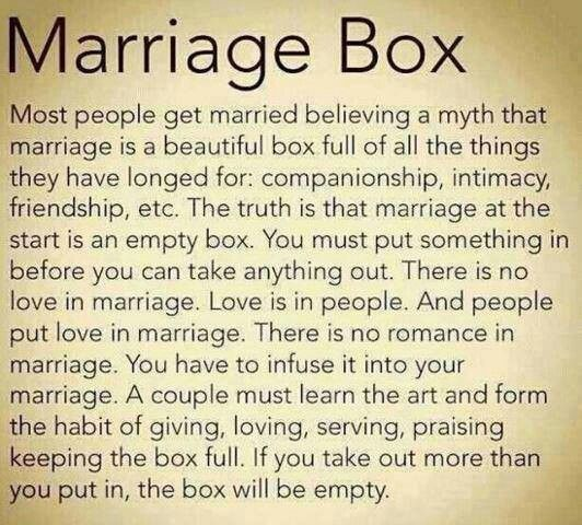 Marriage is what you make it. It is not a destination, it is a journey; a challenge.