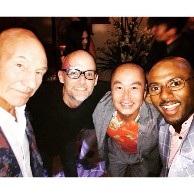 Bald superhero selfie Moby + Sir Patrick